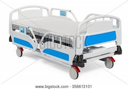 Modern Adjustable Hospital Bed, 3d Rendering Isolated On White Background