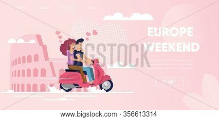 Europe Weekend Concept. Love Couple In Rome Italy Coliseum Background. Man Boyfriendnd Ride Motorcyc