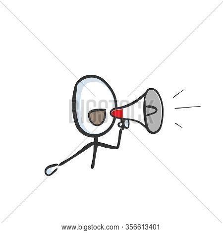 Loud Speaker Announcement. Bullhorn Shout Out. Loud-hailer Message. Hand Drawn. Stickman Cartoon. Do