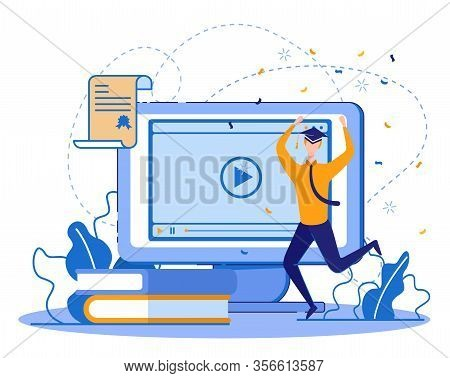 Distant Learning As Lifetime Education Part. Happy Graduating Student, Young Businessman, Working An