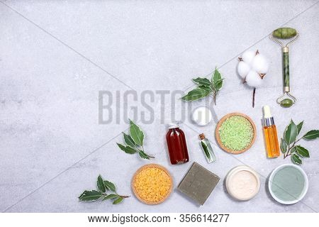 Spa Product Composition With Sea Salt And Natural Cosmetic