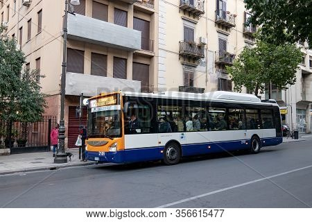 Palermo, Sicily - February 8, 2020: Iveco Urbanway 12m Cng Bus Of The Amat Palermo Public Transporta