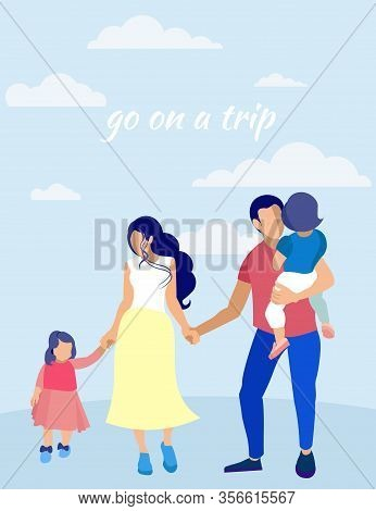 Family With Children In Sky With Clouds. Go On Trip. Insurance Policy. Vector Illustration. Reliable