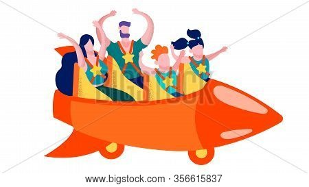 Family Having Fun On Roller Coaster Promotion Card Amusement For People Advertisement Banner In Vect