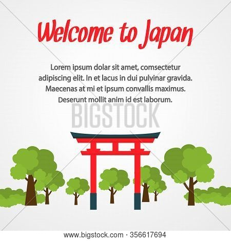Japan Travel Poster Vector Template With Copyspace. Shinto Shrine Flat Illustration. Asian Culture,