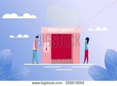 Man And Woman Standing Near Photo Booth Cartoon. People Characters Going Take Picture For Good Memor