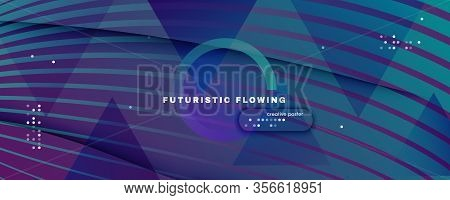 Graphic Fluid. Abstract Flow Line Poster. Color Dynamic Brochure. Vibrant Technology Illustration. G