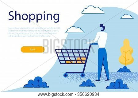 Customer Visiting Grocery Or Supermarket On Weekend, Character Stand With Goods In Shopping Trolley