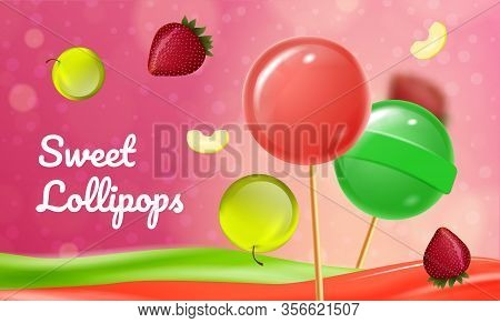 Sweet Fruit Lollipops On Pink Background. Sweets For Baby. Natural Candy. Vector Illustration. Natur