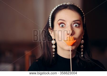 Silly Funny Woman Holding Party Lips Accessory