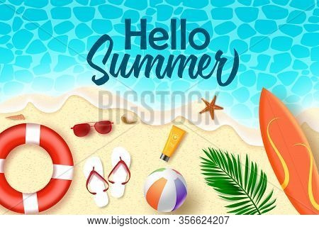 Hello Summer Vector Banner Design. Hello Summer Text In Sea Water With Beach Element Like Surf Board