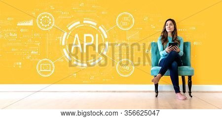 Api - Application Programming Interface Concept Api Concept With Young Woman Holding A Tablet Comput