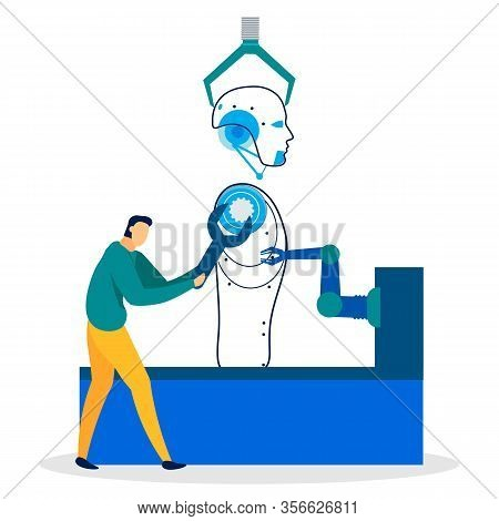 Flat Cartoon Banner Of Robot Manufacture Process. Man Constructor, Engineer Holding Wrench Builds Hu