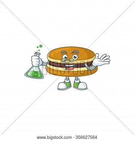 Dorayaki Brainy Professor Cartoon Design Grasp A Glass Tube
