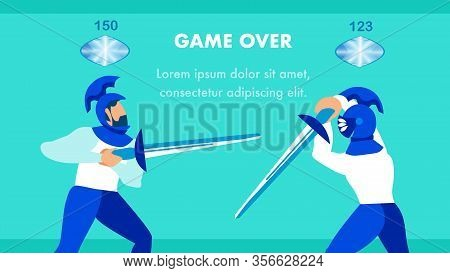 Multiplayer Video Game Flat Vector Banner Template. Medieval Knights, Holding Weapon Cartoon Charact