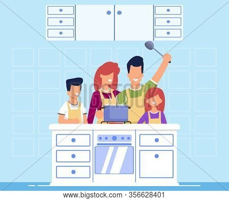 Informative Banner Family Cooking Cartoon Flat. Cooking Together An Interesting Dish, Distribution B