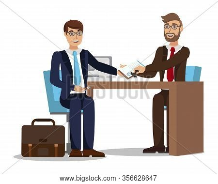 Worker Signing Employment Agreement Illustration. Candidate At Job Interview Flat Vector Character.