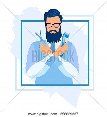 Bearded Handsome Man Holding Scissors And Shaving Machine, Barber Shop Customer, Barber Hipster Char