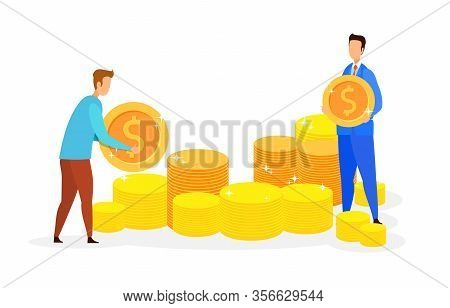 Payday, Banking Service Flat Vector Illustration. Men Holding Coins Cartoon Characters. Employer And