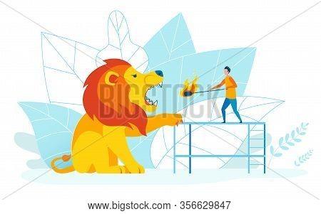 Risky Tricks Metaphor Flat Vector Illustration. Tiny Man Teasing Huge Lion With Burning Torch Cartoo