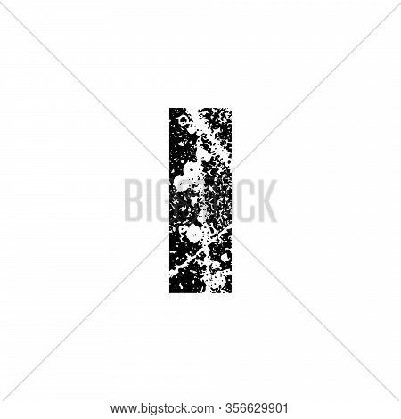 Painted Letter I. Abstract Handmade Sans Serif Typeface. Distress Textured Font. Ink Splatter Surfac