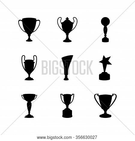 Silhouettes Of Various Trophy Variations For The Winner Of A Championship. Cup Trophy Design As A Ch