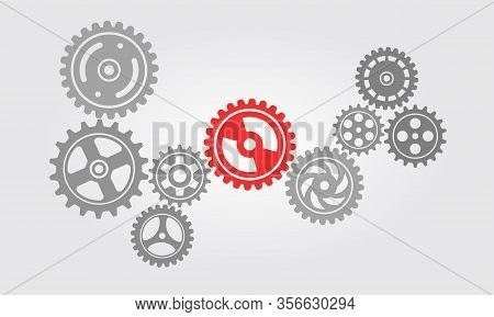 Simple Icon From A Series Of Working Gear Machines. Illustration Of Gear Unit That Works In Harmony