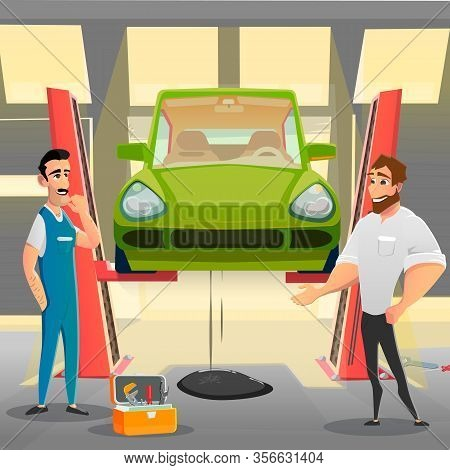 Auto Service Client Complain To Repairman On Oil Leakage In Car. Automobile Lifted In Workshop. Thou