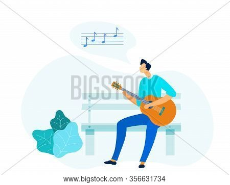 Guy Playing Acoustic Guitar Vector Illustration. Amateur Guitarist Cartoon Character. Talented Young
