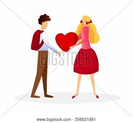 Cute Blonde School Girl Presenting Big Red Heart To Schoolboy In Shirt With Backpack Isolated On Whi
