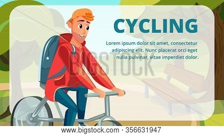 Cycling Banner. Cartoon Man Ride Bicycle Vector Illustration. Male Bicyclist. Active Leisure Healthy