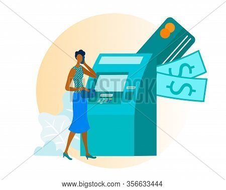 Afro American Elegant Woman Using Atm Transaction Services For Withdrawal Or Putting Cash Cartoon. F