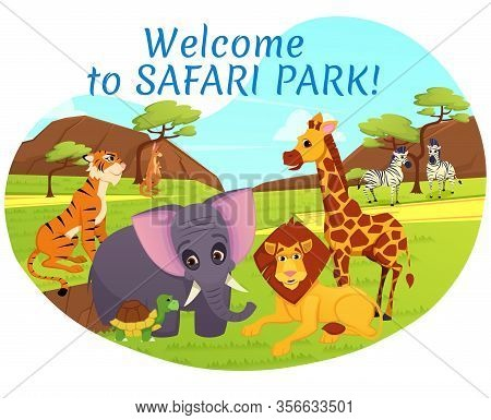Welcome To Safari Park Banner, African Animals On Savannah Nature Background, Tiger, Elephant, Kanga