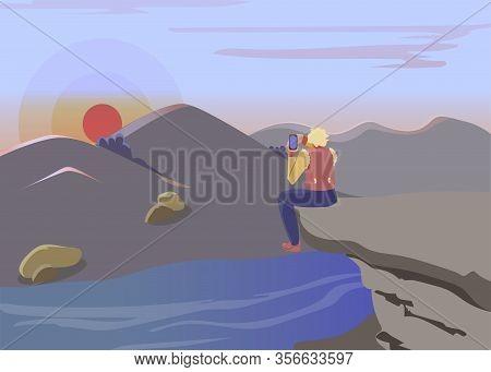 Lonely Hiker Taking Photo Flat Vector Illustration. Cartoon Traveler Sitting On Cliff Alone, Enjoyin