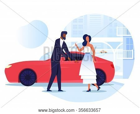 Lady With Personal Driver Flat Vector Illustration. Vip, Celebrity And Chauffeur Cartoon Characters.