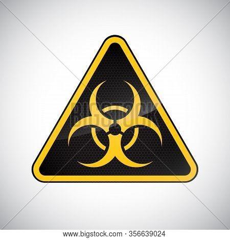 Caution Biological Hazard Sign. Black Yellow Carbon Warning Bio Hazard Sign On White Background. Inf