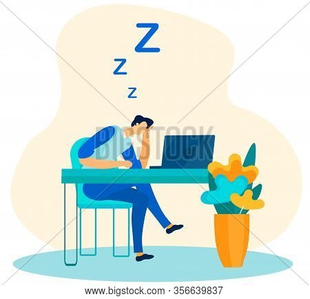 Tired And Overworked Male Worker Sleeping In Office Flat Cartoon. Exhausted Employee Falling Asleep