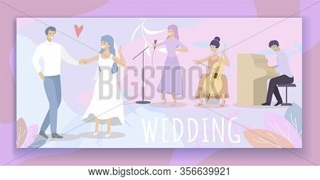 Wedding Party. Cheerful Bride In White Dress And Groom Dance In Restaurant With Live Music. Musician
