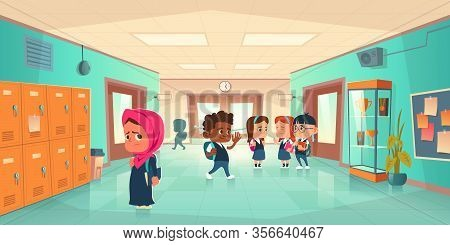 Sad Muslim Girl In School Hallway And Teenagers Behind Her Back. Vector Cartoon Illustration With Ch