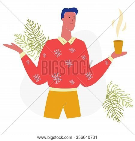 Young Happy Man Character In Red Knitted Jumper With Snowflakes Pattern Holding In Hands Cup With Ho