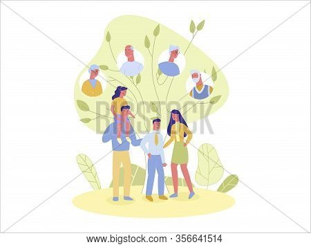 Four Membered Happy Family, Father, Mother, Teen Age Son And Little Daughter Against Family Tree Bac