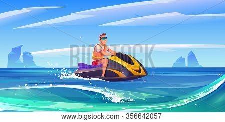 Man On Jet Ski In Sea. Young Man Ride Aquabike On Ocean Waves. Vector Cartoon Illustration Of Sea La