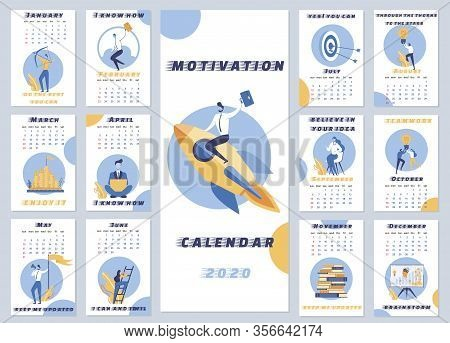 Inscription Motivation Calendar 2020 Cartoon. Motivational Calendar For Every Day. Airframe Template