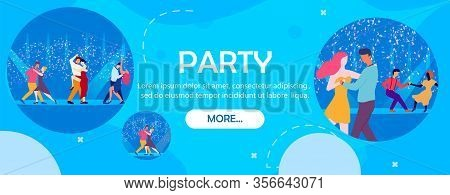 Nightclub Party Banner. Cartoon People Dancers On Dancefloor In Neon Light Vector Illustration. Happ