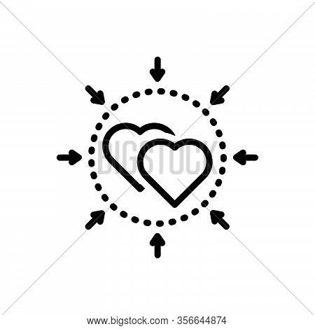 Black Line Icon For Incorporate Unified Include Love Engagement Comprise Involve Joint