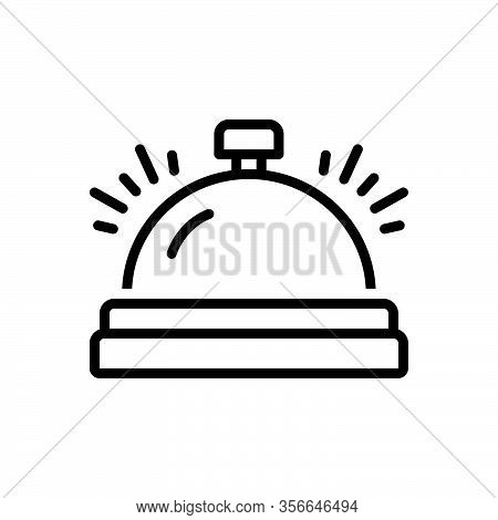 Black Line Icon For Bell Campanula Reception Attention Concierge Handbell Office-bell Ring Reminder
