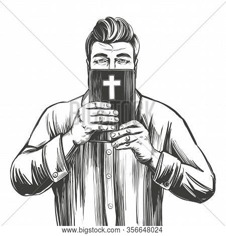 Man Protects His Face With The Bible , Salvation Is In God S Word, Hands Holding The Holy Bible, Gos