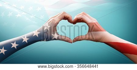 Happy Memorial Day with America Flag Pattern on People Hands