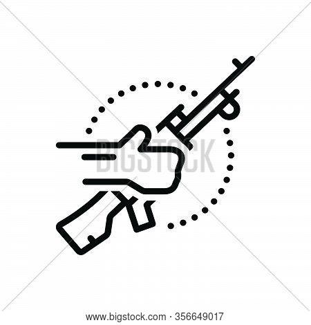 Black Line Icon For Terrorist Bomber Guerrilla Radical Rebel Thug Incendiary Revolutionary Gun