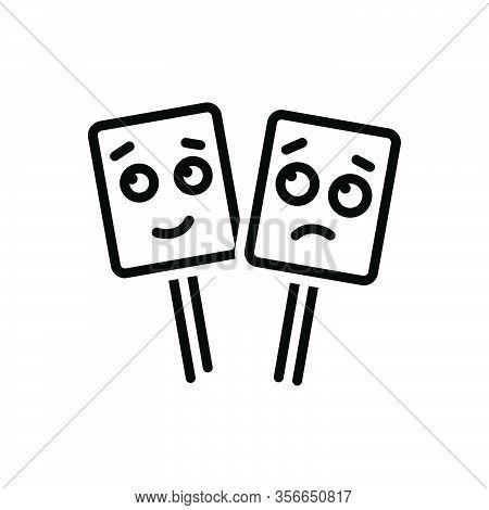 Black Line Icon For Emotional Sentimental Mushy Gooey Lackadaisical Slobbery Weeping Happy Emoji